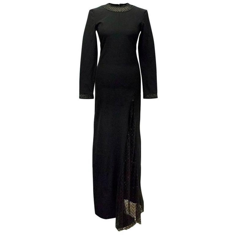 PA5H Long Black Dress with Embellishment