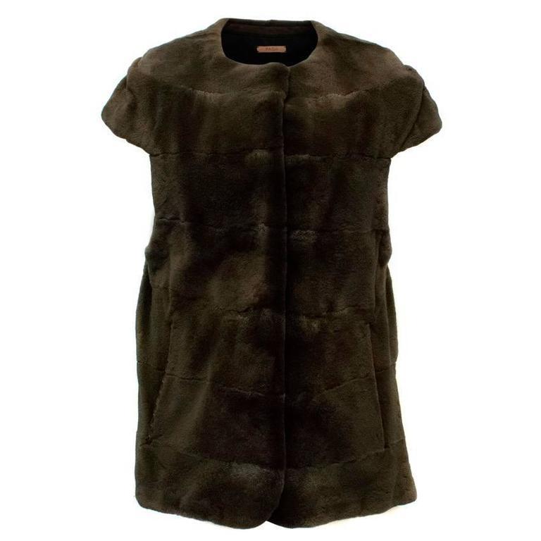 PA5H Brown Cap Sleeve Mink Fur Jacket 1