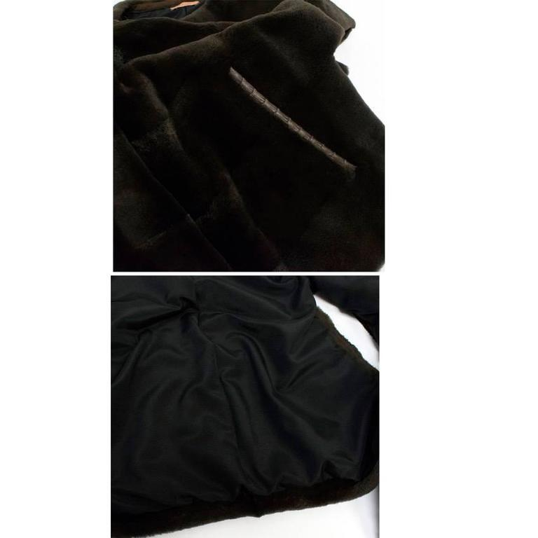 PA5H Brown Cap Sleeve Mink Fur Jacket 2