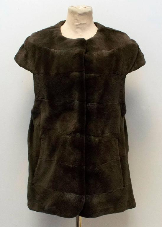 PA5H Brown Cap Sleeve Mink Fur Jacket 4