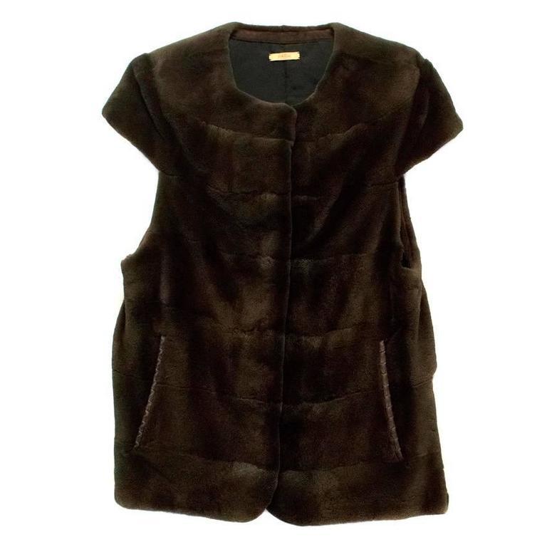 PA5H Brown Cap Sleeve Mink Fur Jacket 5
