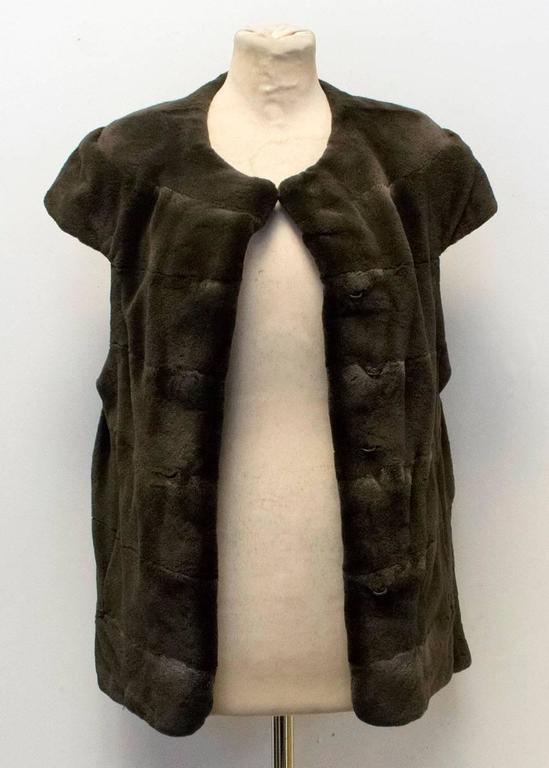 PA5H Brown Cap Sleeve Mink Fur Jacket 10