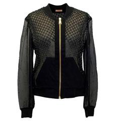 PA5H Black Organza Sheer Bomber with Beading