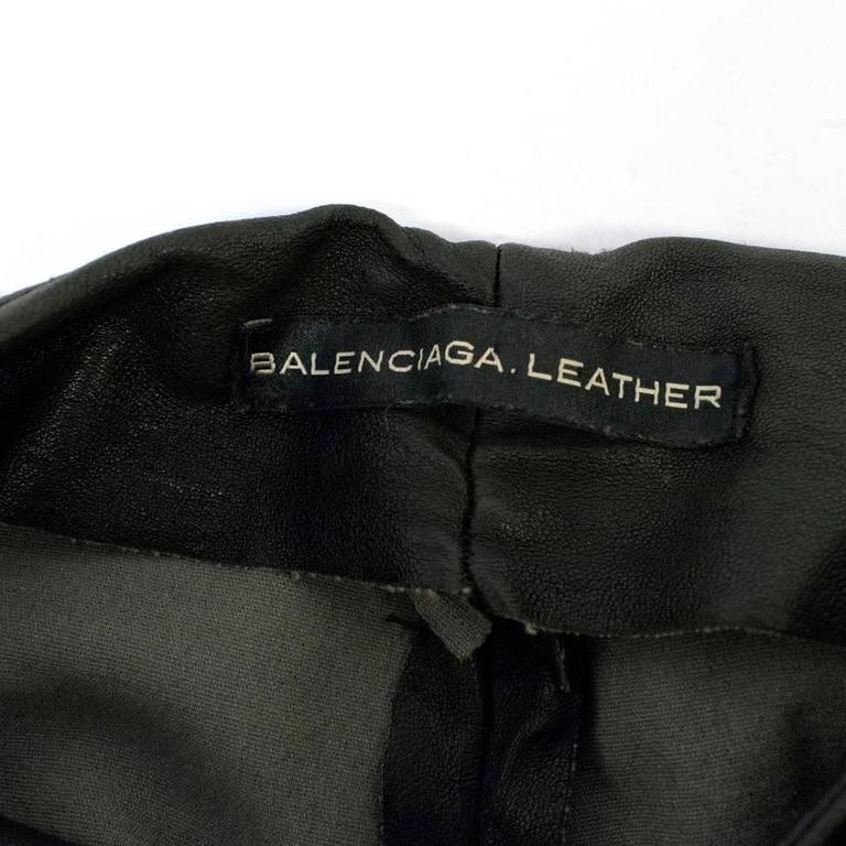 Black Balenciaga Dark Brown Leather Trousers For Sale