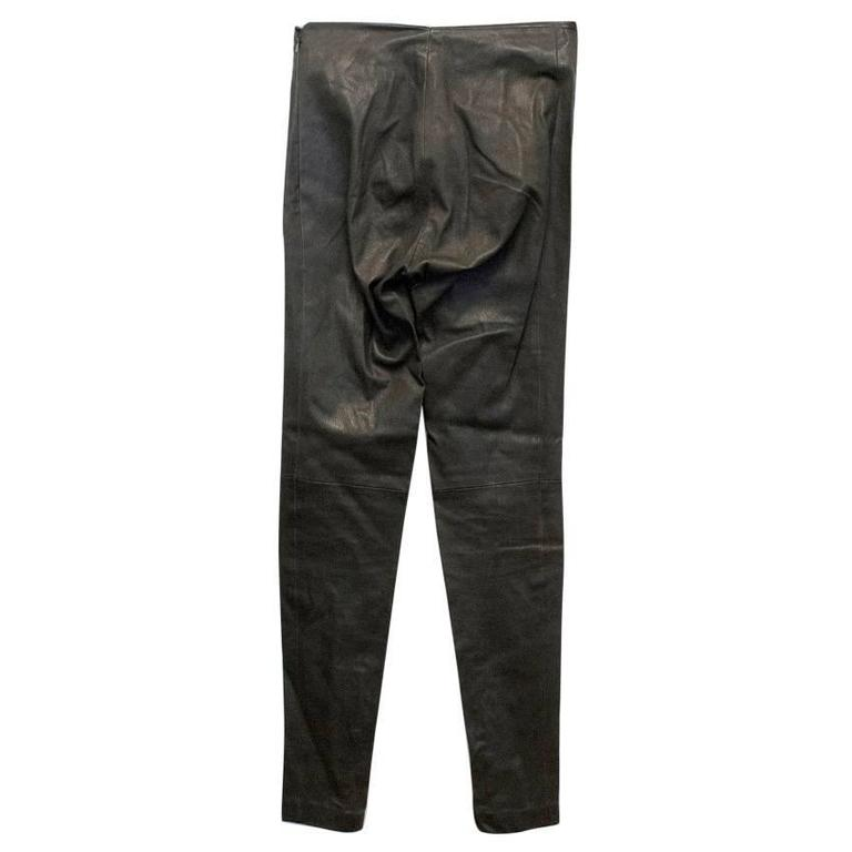 Balenciaga dark brown leather trousers, they are high waisted and feature zippers by the ankles.  Condition: 9.5/10  Size: S Size UK: 10 Size US: 6  Measurements Approx: Waist: 32.5 cm Hips: 36.5 cm Drop: 73 cm Length: 97 cm