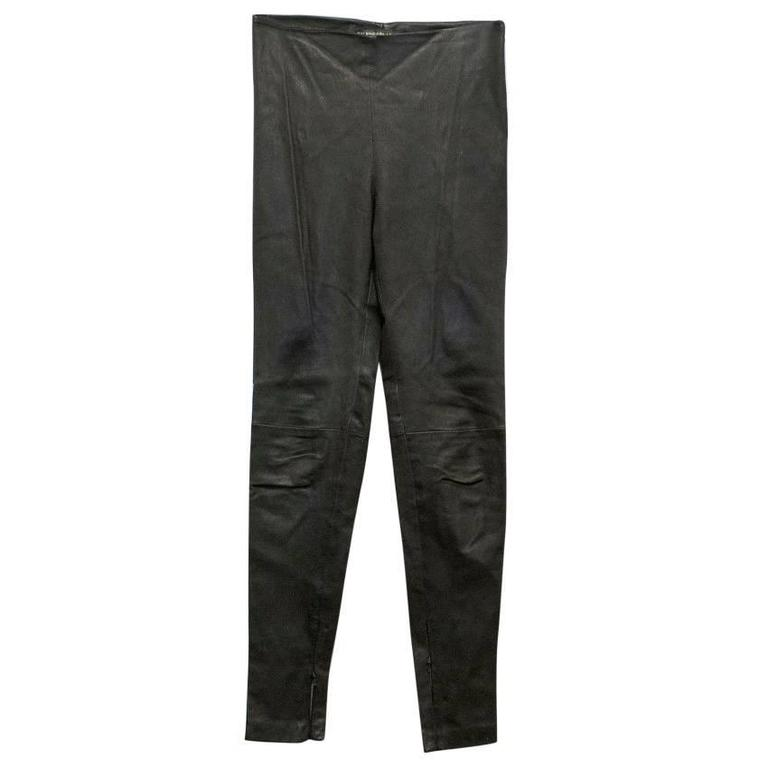 Balenciaga Dark Brown Leather Trousers For Sale