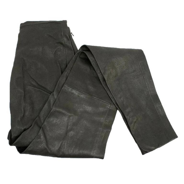 Women's Balenciaga Dark Brown Leather Trousers For Sale