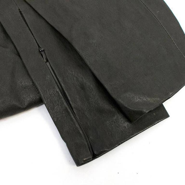 Balenciaga Dark Brown Leather Trousers In Excellent Condition For Sale In London, GB