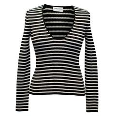 Saint Laurent Black and Silver Striped Sparkly Deep Plunge Top