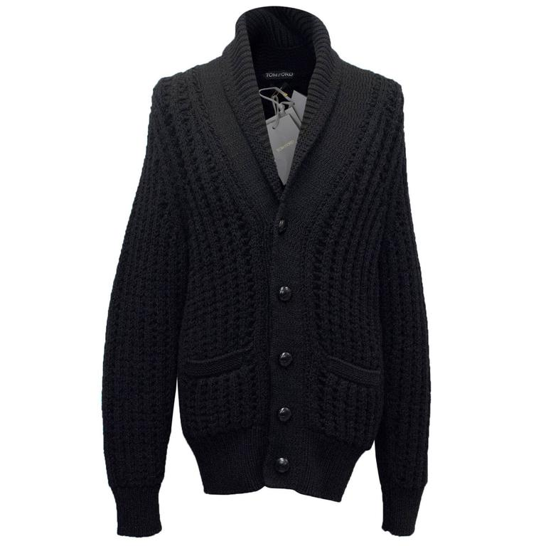 Tom Ford Men's Chunky Black Cable Knit Cardigan For Sale at 1stdibs