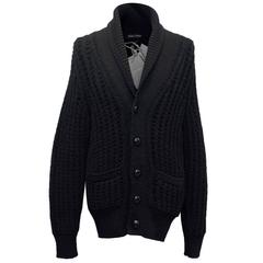 Tom Ford Men's Chunky Black Cable Knit Cardigan