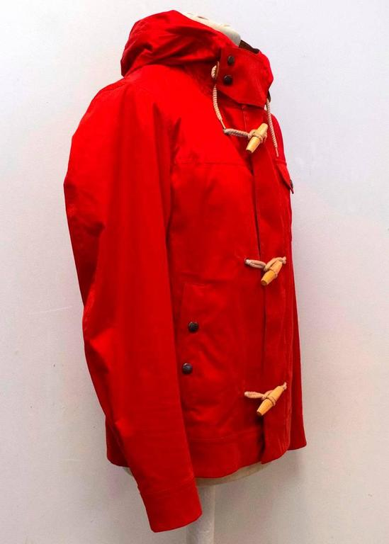 New Moncler Men's Red Hooded Jacket with Toggle Buttons For Sale at  DX31
