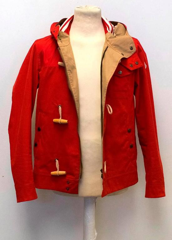 Moncler Men S Red Hooded Jacket With Toggle Buttons For