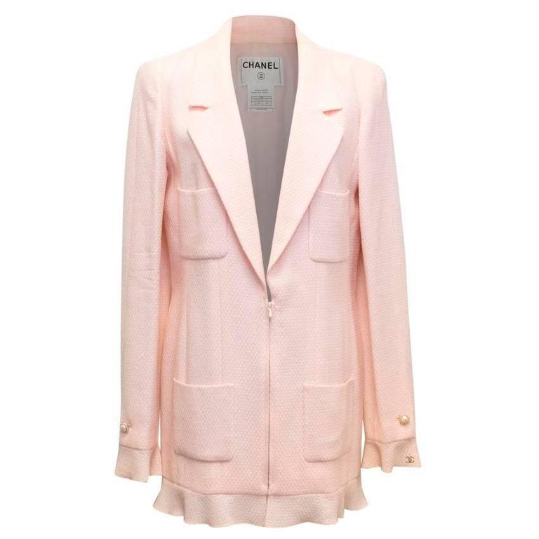Chanel Nude Pink Jacket/Short Coat with Ruffled Cuffs and Hem  1