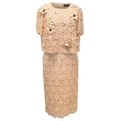 Dolce & Gabbana Nude Lace Top and Skirt