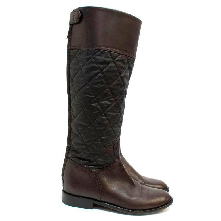Chanel Brown Leather Quilted Long Boots  4