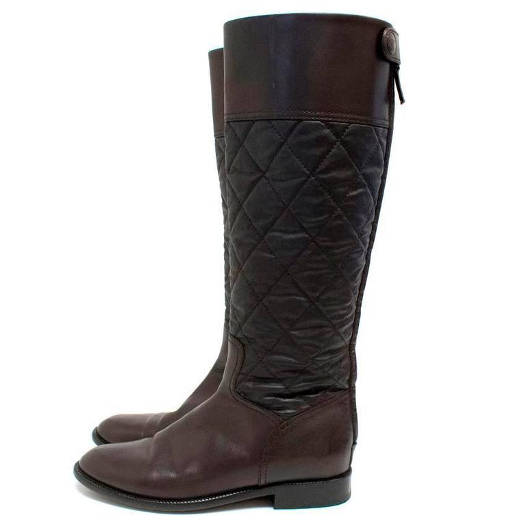 Chanel Brown Leather Quilted Long Boots  5