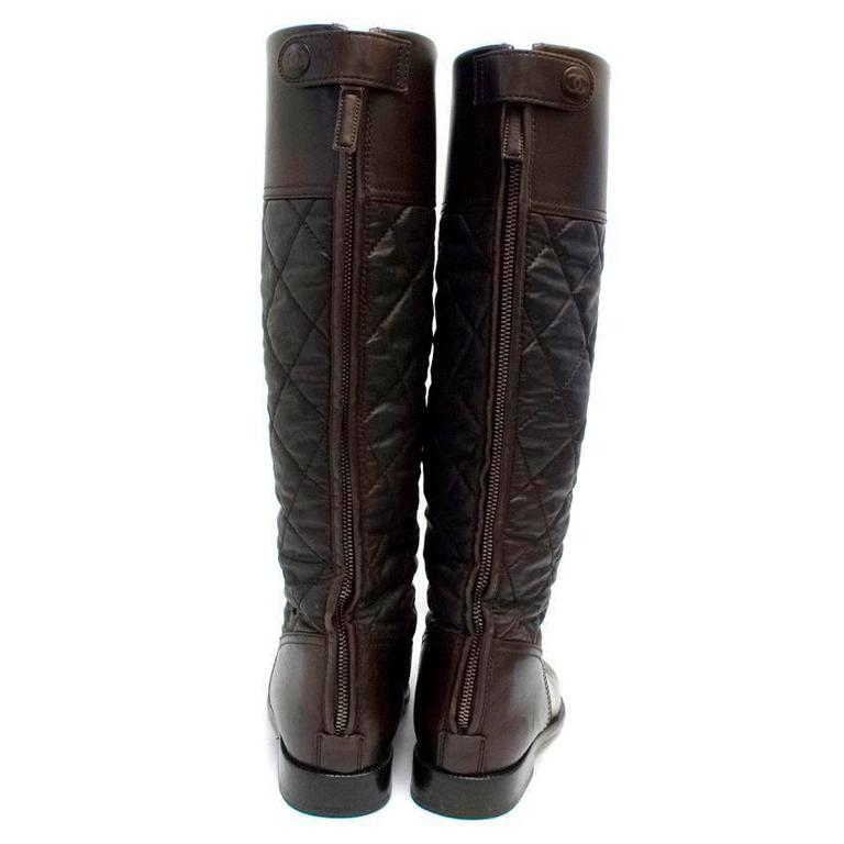 Chanel Brown Leather Quilted Long Boots  6