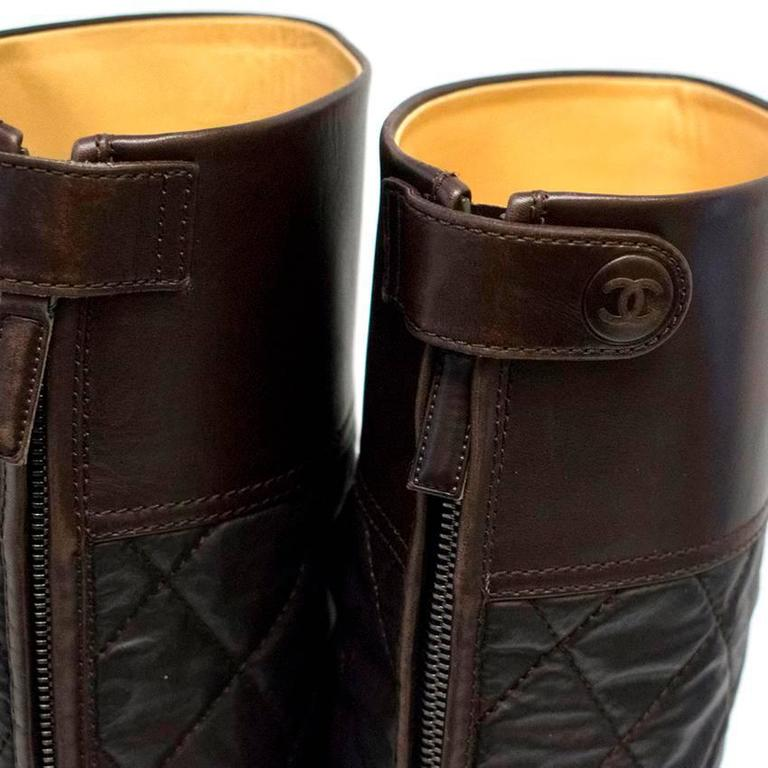 Chanel Brown Leather Quilted Long Boots  9