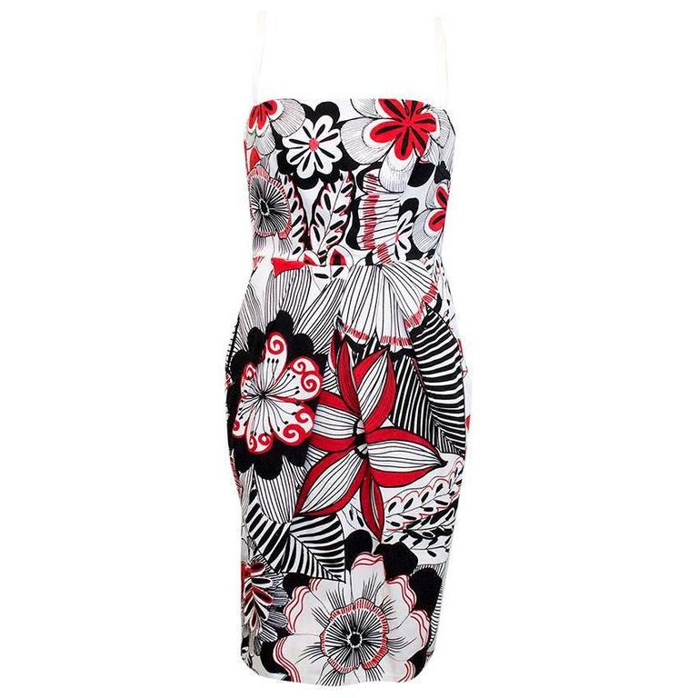 Dolce & Gabbana White, Black and Red Floral Print Dres