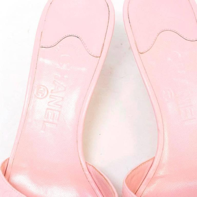 Chanel Pink Embossed Leather Open Toed Sandals  For Sale 3