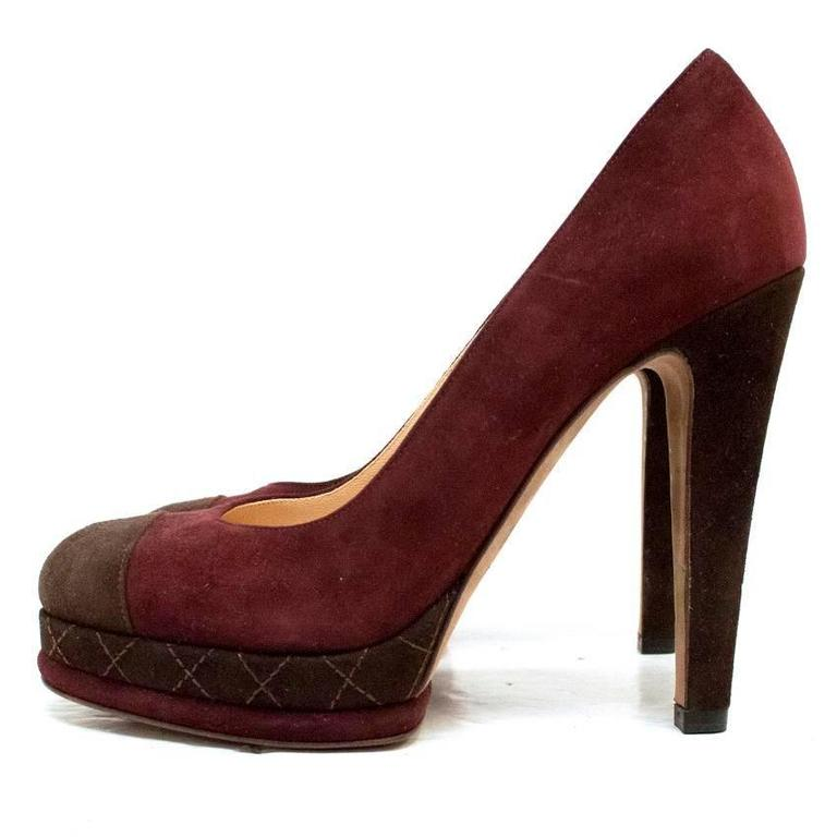 Chanel Burgundy And Brown Round Toe Suede Heels 2