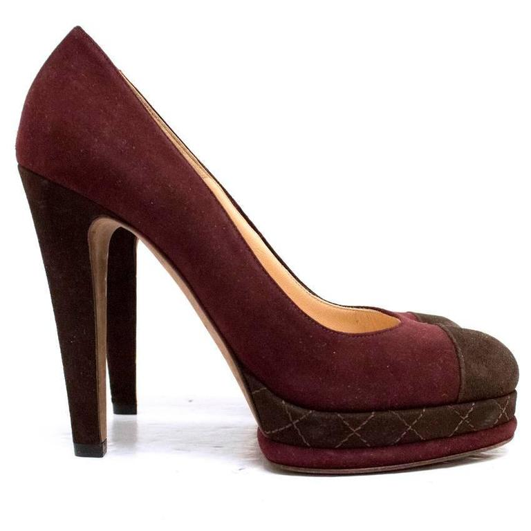 Chanel Burgundy And Brown Round Toe Suede Heels 3