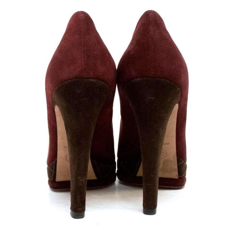 Chanel Burgundy And Brown Round Toe Suede Heels 4