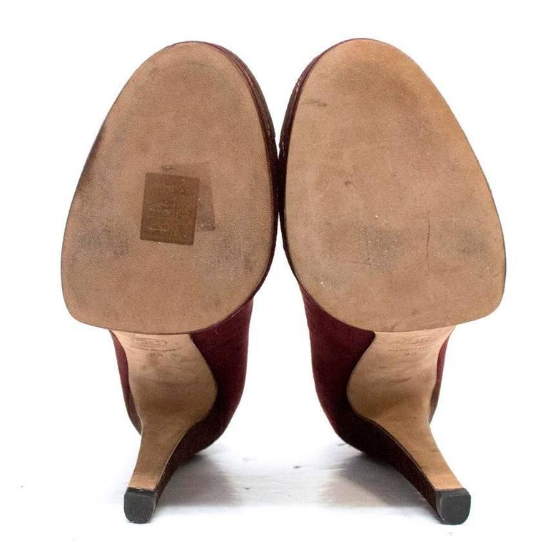 Chanel Burgundy And Brown Round Toe Suede Heels 5