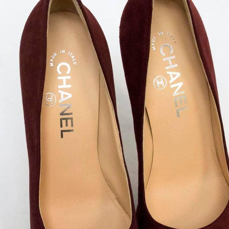 Chanel Burgundy And Brown Round Toe Suede Heels 6