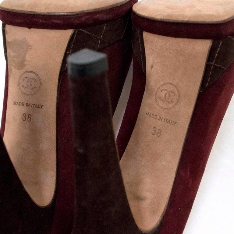 Chanel Burgundy And Brown Round Toe Suede Heels 7