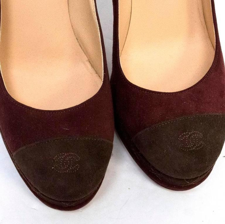 Chanel Burgundy And Brown Round Toe Suede Heels 8