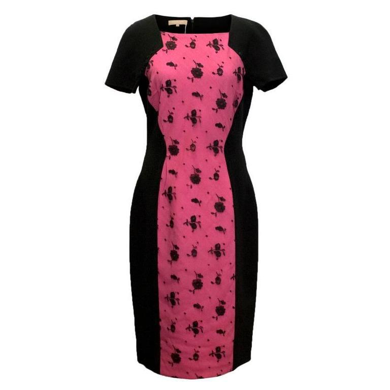 Michael Kors Black Bodycon Dress with Pink Lace Panel