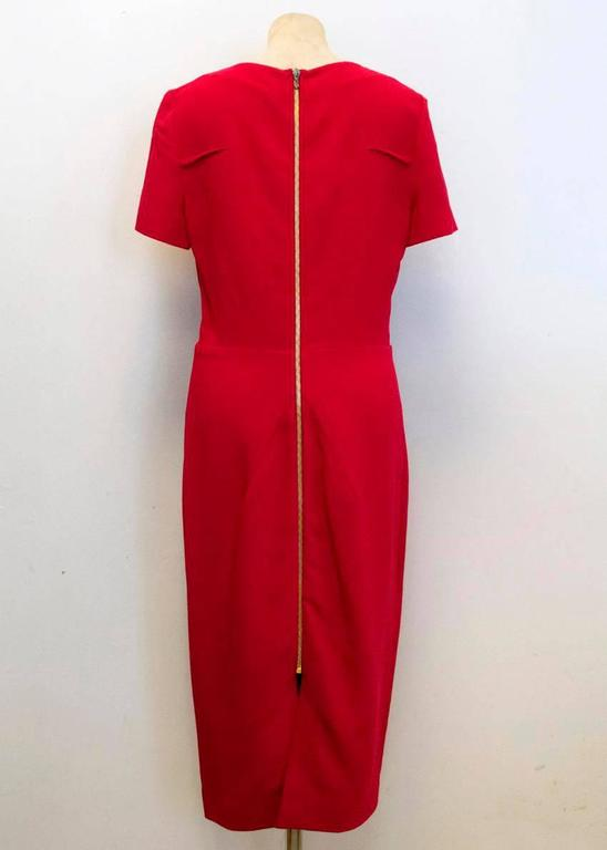 Roland Mouret Red Pencil Dress With Gold Zip Up Back For