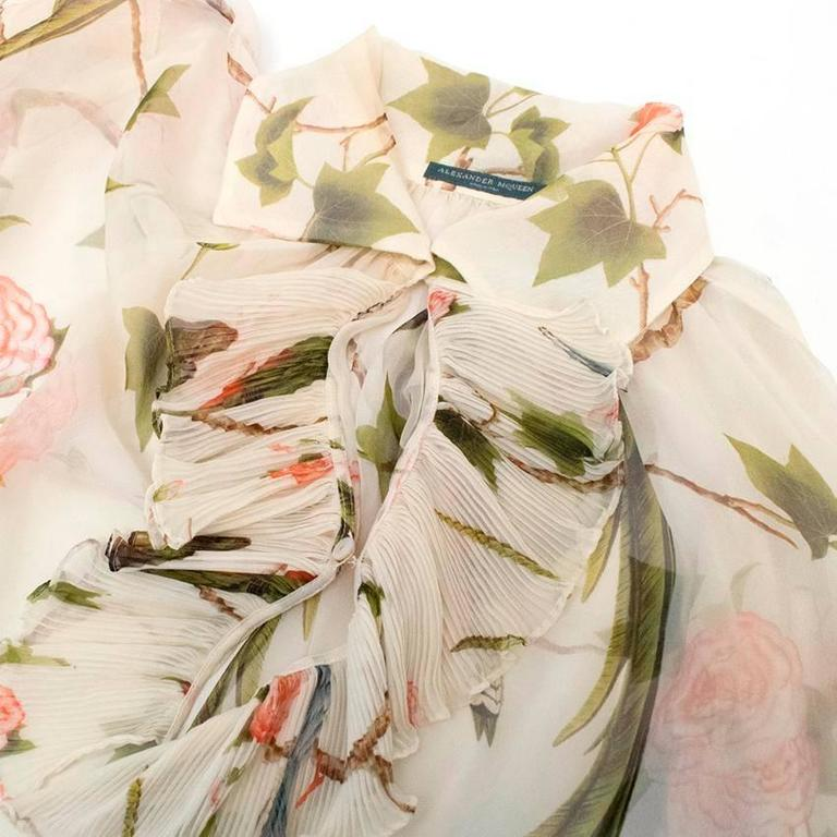 Alexander McQueen Floral Cream Sheer Blouse For Sale 1