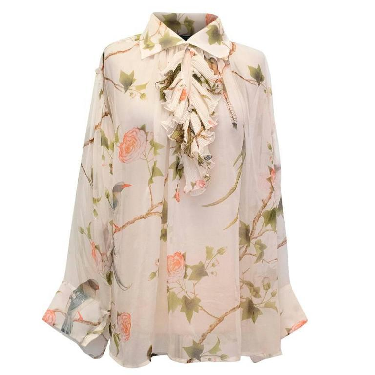 Alexander McQueen Floral Cream Sheer Blouse For Sale