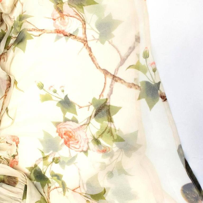 Alexander McQueen Floral Cream Sheer Blouse For Sale 2