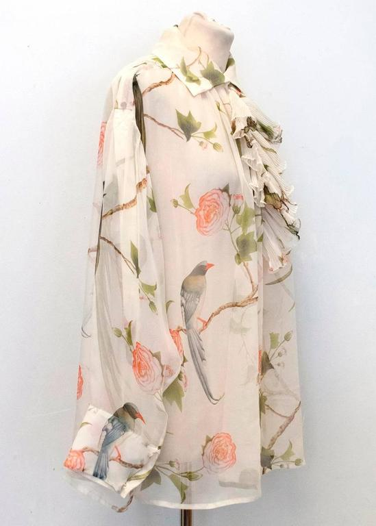 Alexander McQueen Floral Cream Sheer Blouse For Sale 3