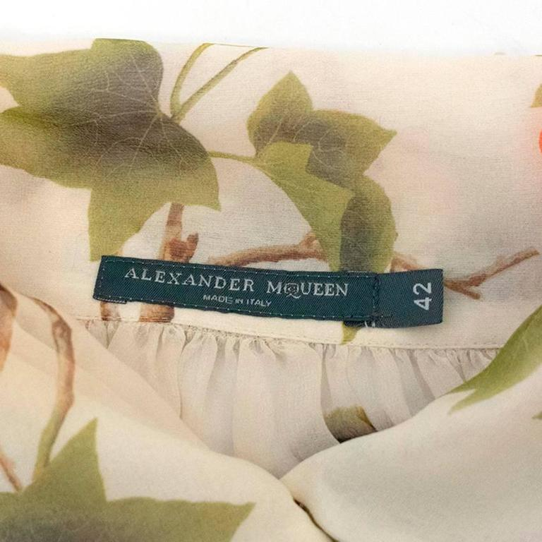 Women's Alexander McQueen Floral Cream Sheer Blouse For Sale