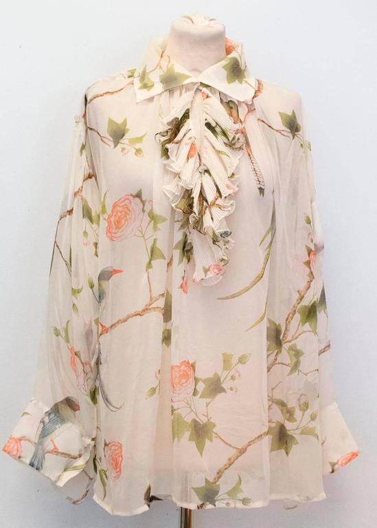 Alexander McQueen Floral Cream Sheer Blouse For Sale 4