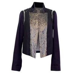 Chloe Embellished Navy Wool and Kashmir Blazer