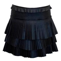 Isabel Marant Black Leather Skirt with Pleats