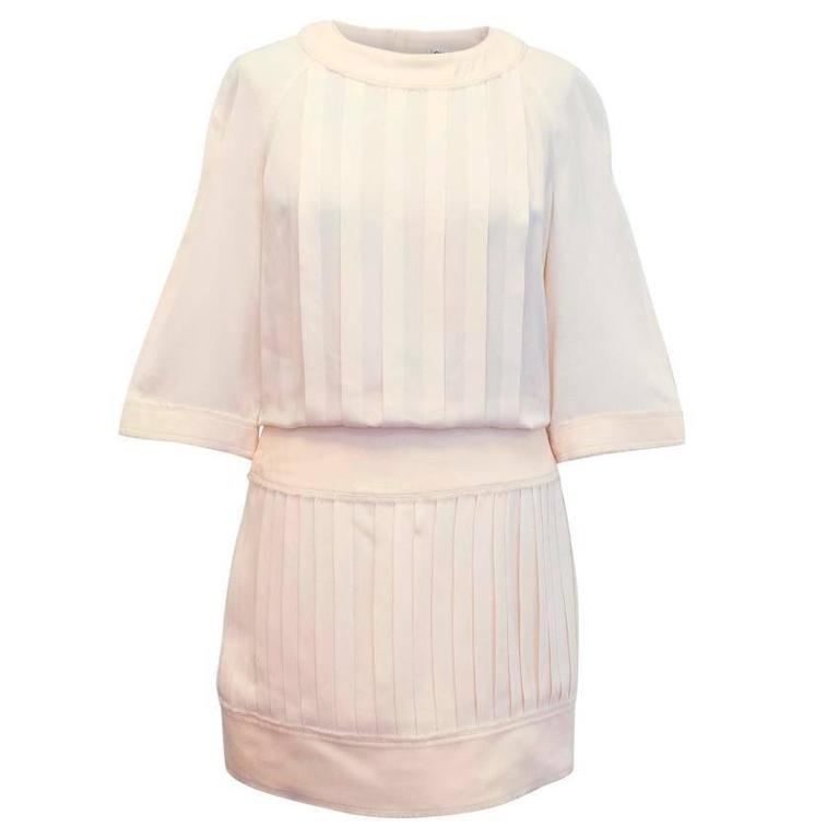Chanel Cream Pleated Dress with a Drop Waist  1