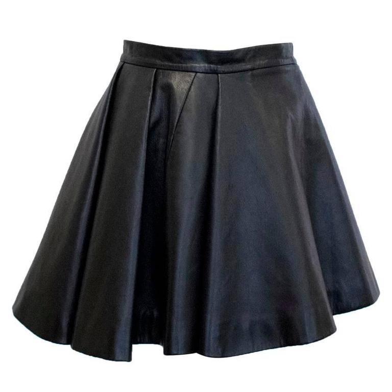 Balmain Black Leather Skater Skirt For Sale At 1stdibs