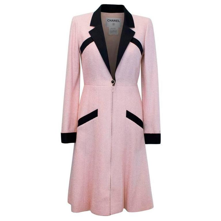 Chanel Silk Tweed Milkshake Pink and Black Dress Coat 1