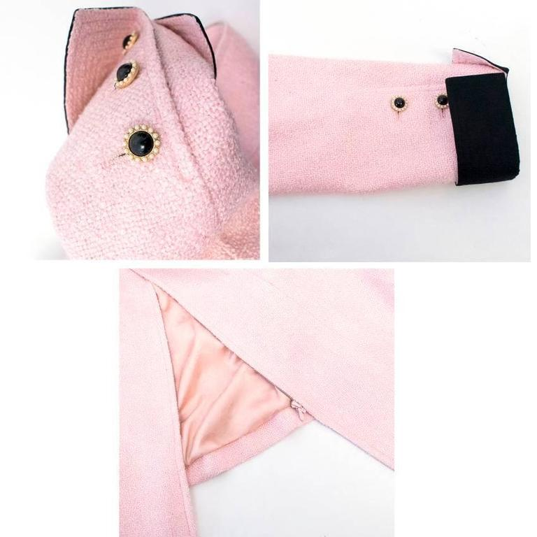 Chanel Silk Tweed Milkshake Pink and Black Dress Coat 3