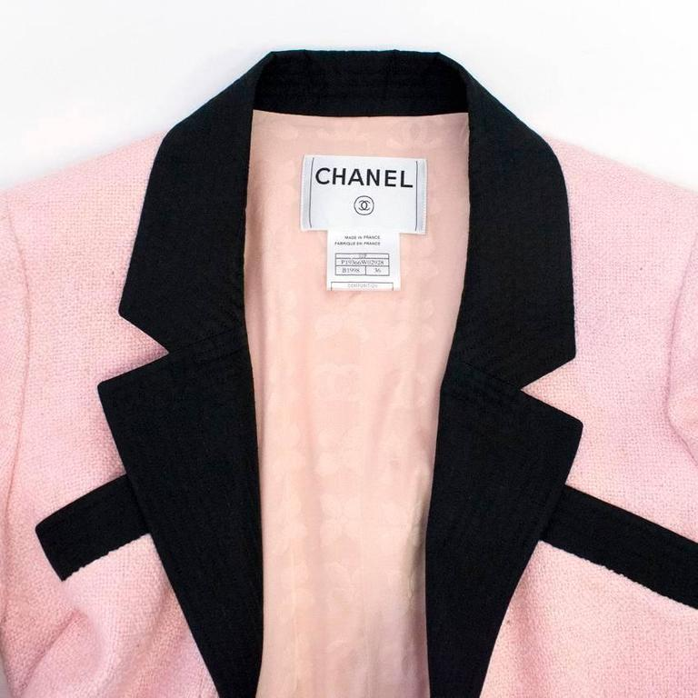 Chanel Silk Tweed Milkshake Pink and Black Dress Coat 5