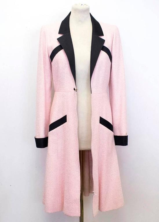 Chanel Silk Tweed Milkshake Pink and Black Dress Coat 6