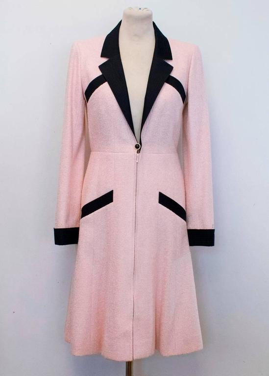 Chanel Silk Tweed Milkshake Pink and Black Dress Coat 4