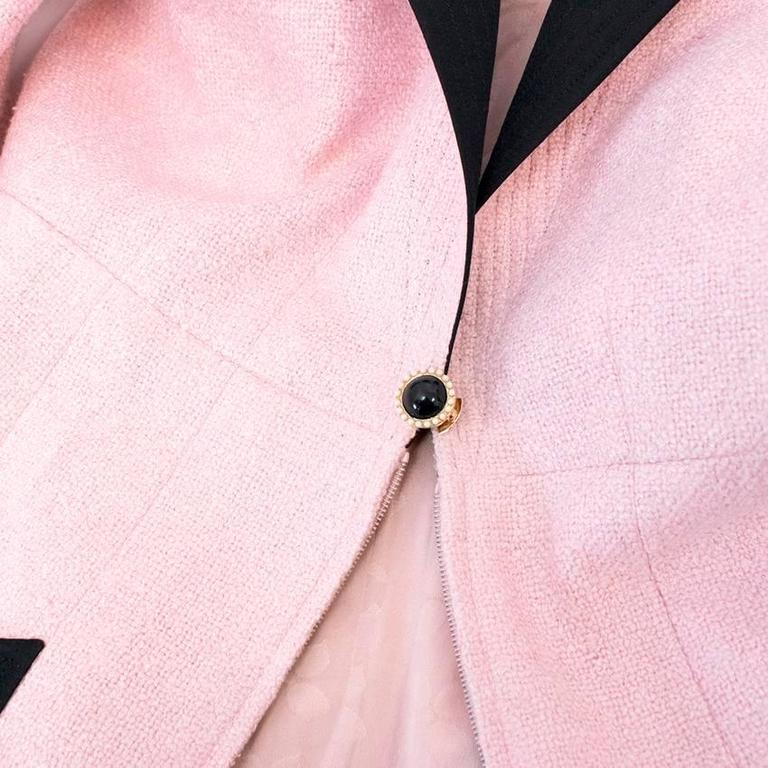 Chanel Silk Tweed Milkshake Pink and Black Dress Coat 10